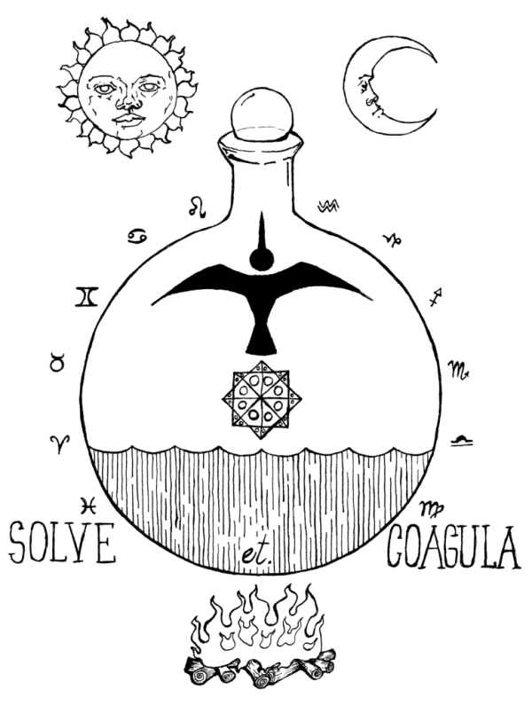 solve et coagula alchemical illustration by Scott Myst
