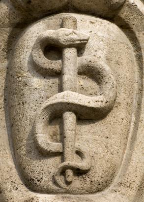 Rod of Asclepius stone carving