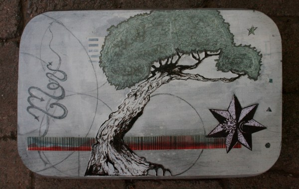 "Original tree art - ""The Work (base)"" - mixed media collage art"