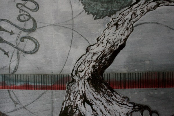 "Original tree art - ""The Work (base)"" - mixed media collage art - Money tree"