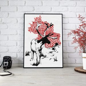reindeer poster with amanita muscaria pattern by closet of mysteries