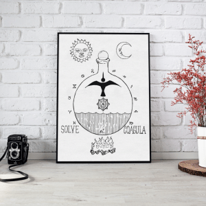 solve et coagula white screen printed poster by Closet of Mysteries