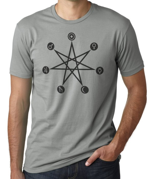 Days of the week planetary correspondence shirt by Closet of Mysteries Warm Grey