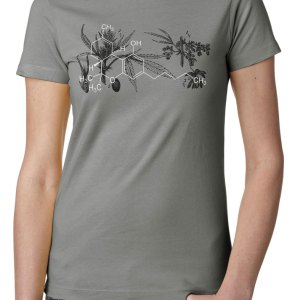 Cannabis shirt with botanical illustration and THC molecule marihuana shirt design by Closet of Mysteries