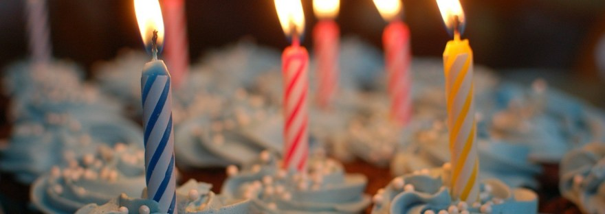 Birthday Cupcakes with Lit Candles
