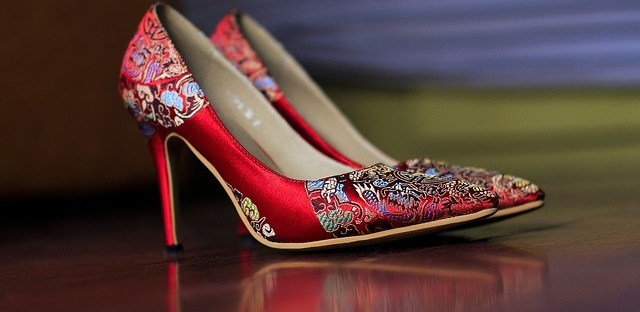 Red Satin Oriental Pattern Pump