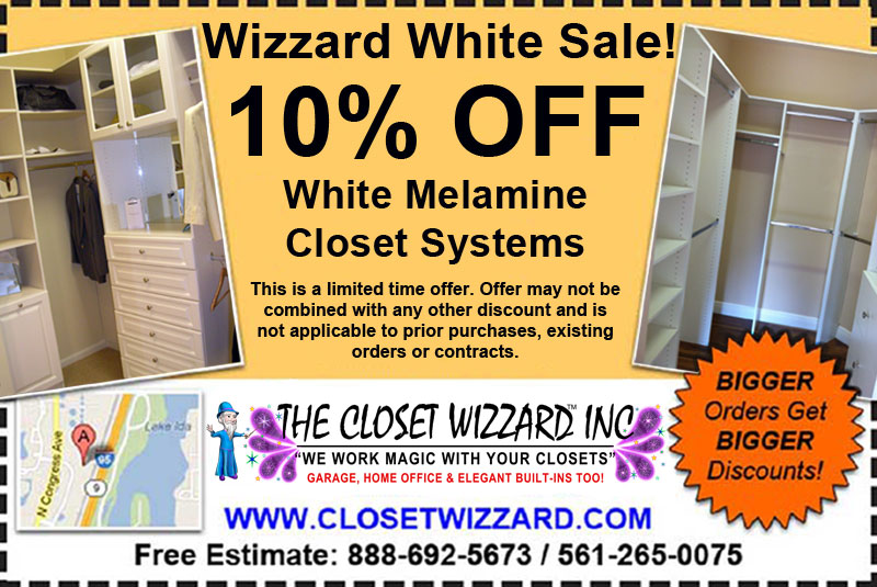 White Melamine Closet Sale