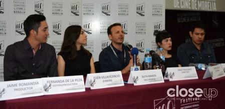 El equipo de La región salvaje, por la que Amat Escalante ganó el León de Plata en Venecia, en conferencia de prensa (Foto: Amelia Rojas)