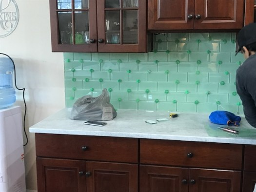 surf glass kitchen backsplash install