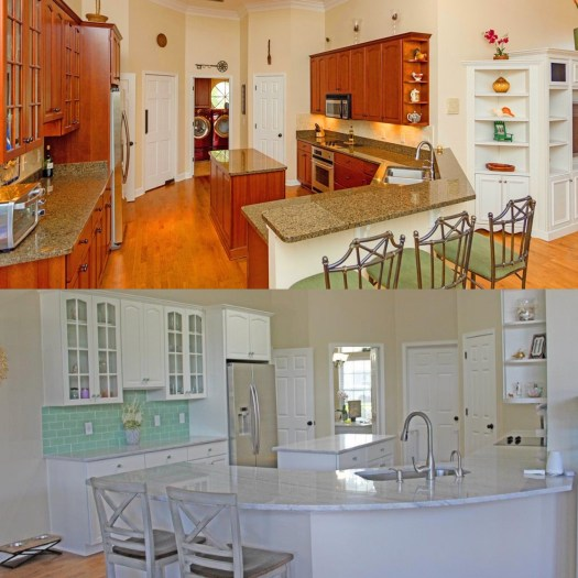 traditional kitchen renovated into coastal kitchen