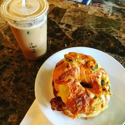 Bacon egg chz bagel and vanilla lavender latte
