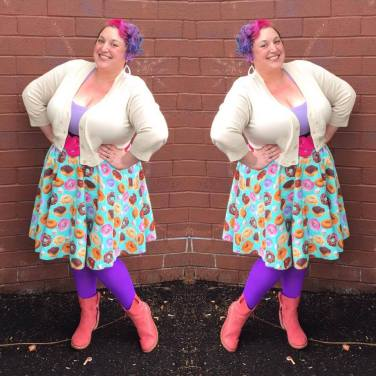 Earrings: It's Fashion Metro, cardigan: Pinup Girl Clothing, Top: Ross, Belt: Cats Like Us, skirt: Nati Mami's Skirts, Tights: We Love Colors, Boots: Bussola