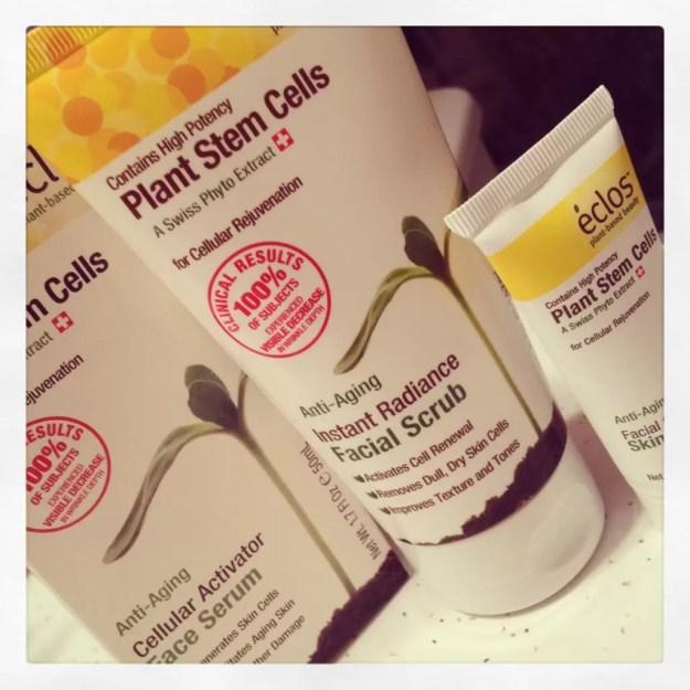 Eclos facial scrub skin prep and facial serum