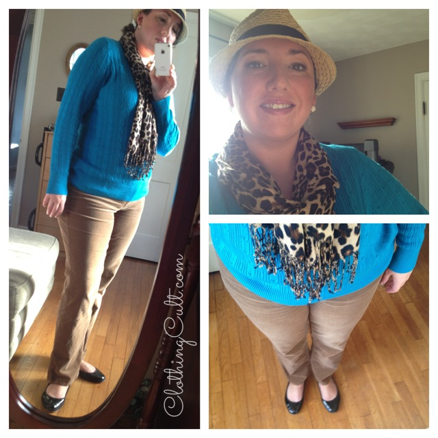OOTD - turquoise cable-knit sweater, leopard scarf and camel corduroy - ClothingCult.com