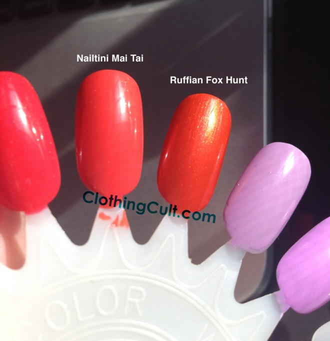 Ruffian Fox Hunt Nail Polish swatch next to Nailtini Mai Tai swatch