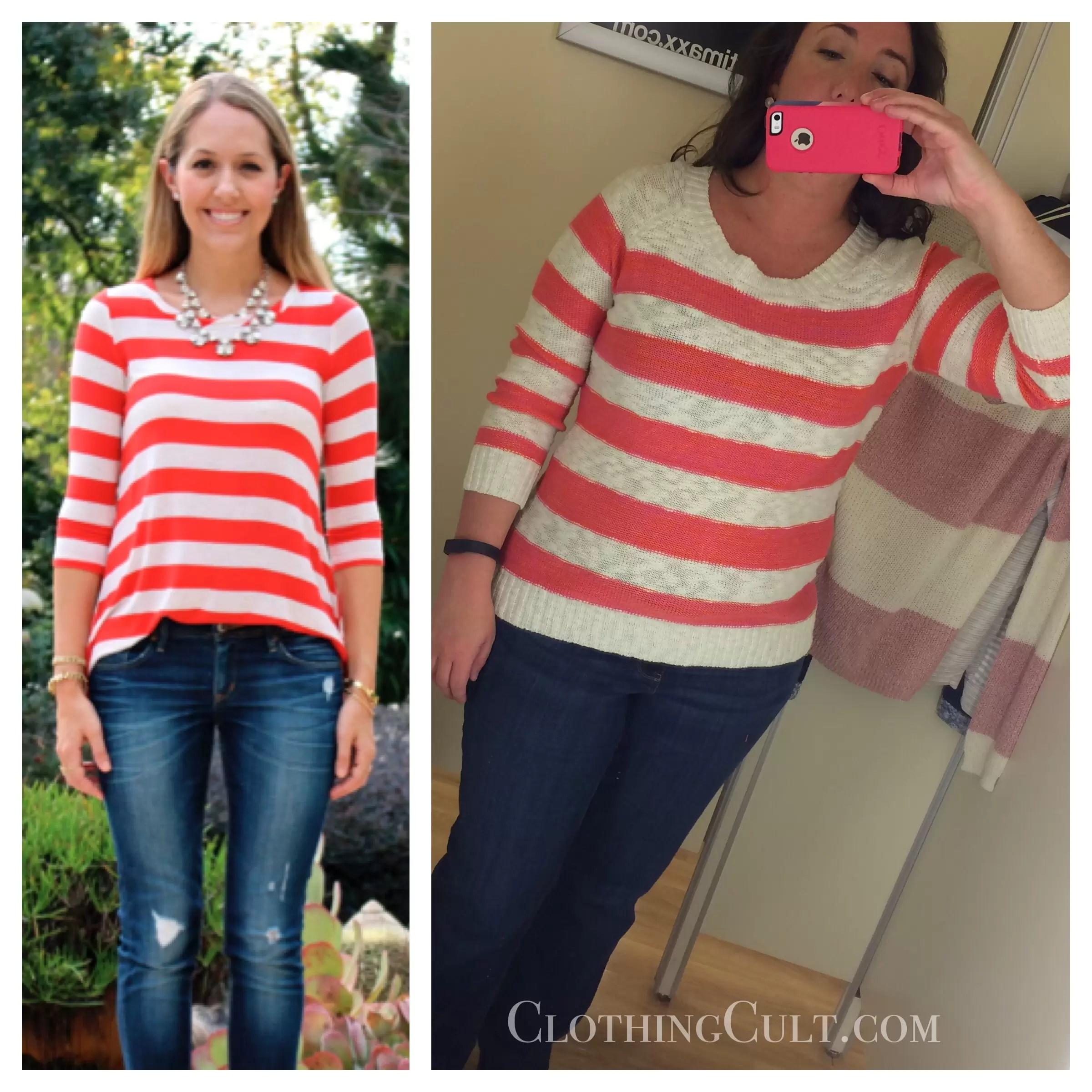 6b0f7c3d639 TJ Maxx Pink Rose striped sweater - ClothingCult.com