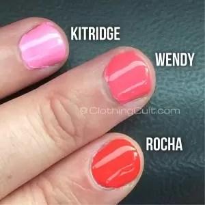Zoya Rocha, Wendy & Kitridge swatches shot dark background - via ClothingCult.com