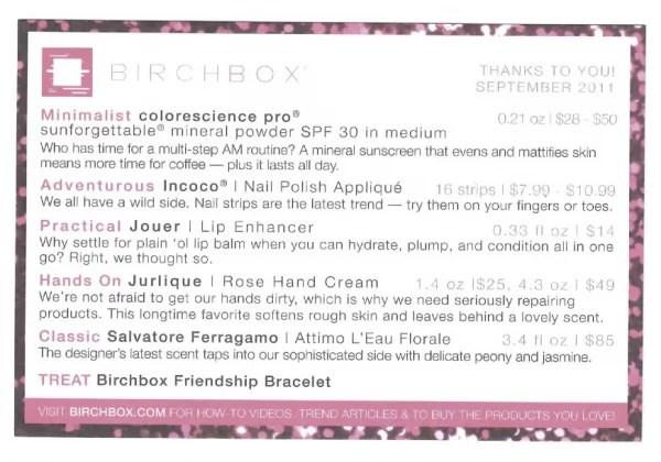 ColorScience Pro Sunforgettable Mineral Powder SPF 30 in Medium • Jouer Lip Enhancer Conditioning Lip Treatment • Julique Rose Hand Cream • Salvatore Ferragamo Parfums Attimo L'eau Florale • Incoco Nail Polish Applique zebra print • Birchbox Friendship Bracelet 1 year anniversary gift