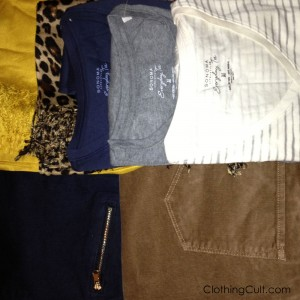 kohls haul sneak peek: mustard yellow scarf, leopard scarf, basic long sleeve shirts in navy, gray heather and striped as well as skinny jeans and corduroys!