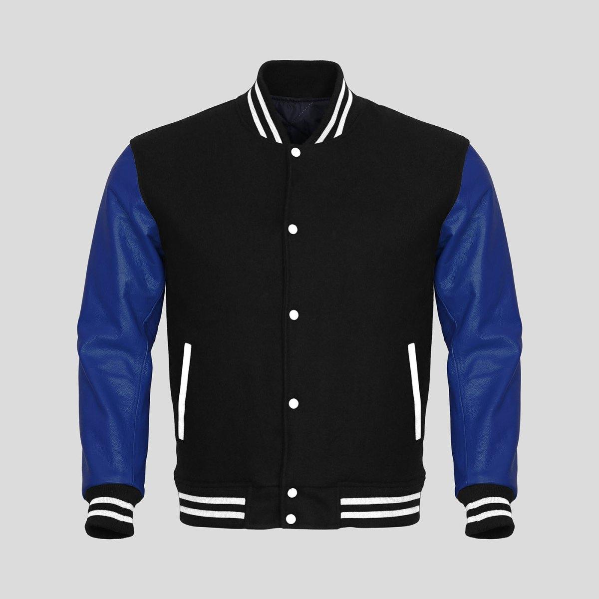 Blue Leather Sleeves Black Wool Varsity Jacket | Clothoo