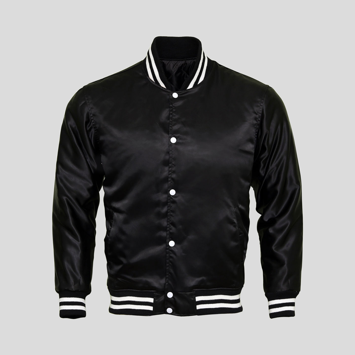 Black Satin Baseball Jacket | Clothoo