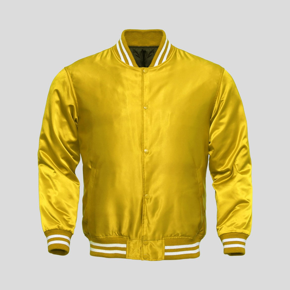 Yellow Satin Baseball Jacket | Clothoo