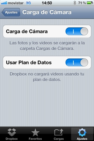 Guardar fotos del iPhone en Dropbox (2/5)