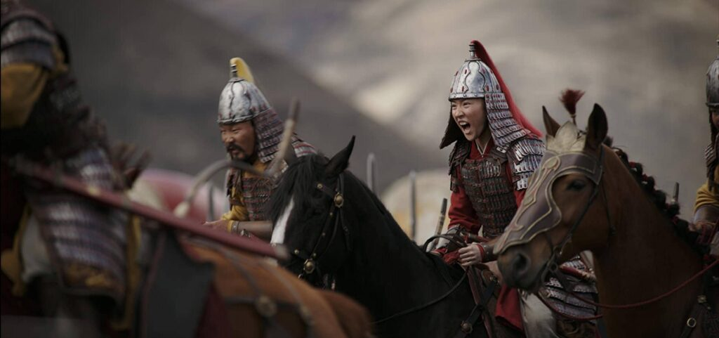 Mulan rides into battle against the Huns