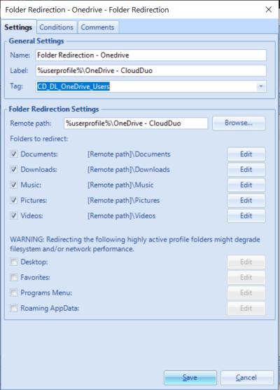 UEM OneDrive Folder redirection