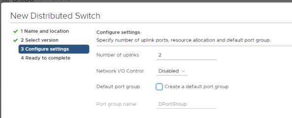 New Distributed switch - settings