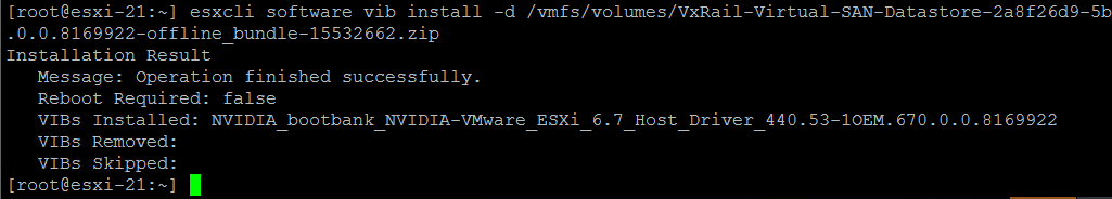 VxRail nvidia succesfull install