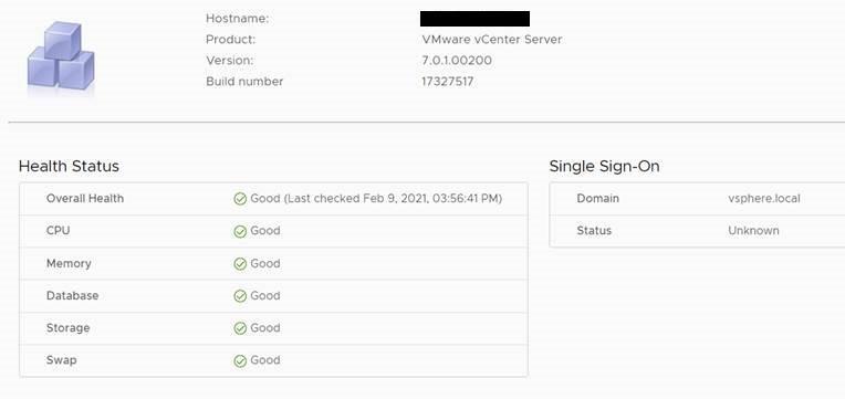 VCSA sso domain status unknown