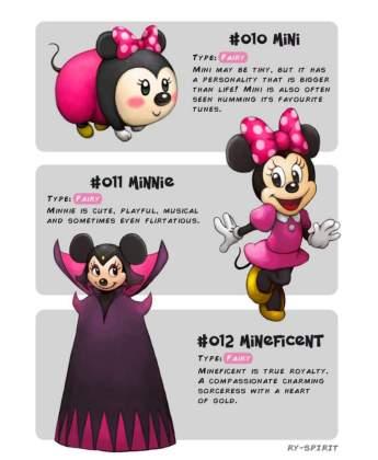 21 Artista recria vários personagens da Disney como evolução Pokémon!