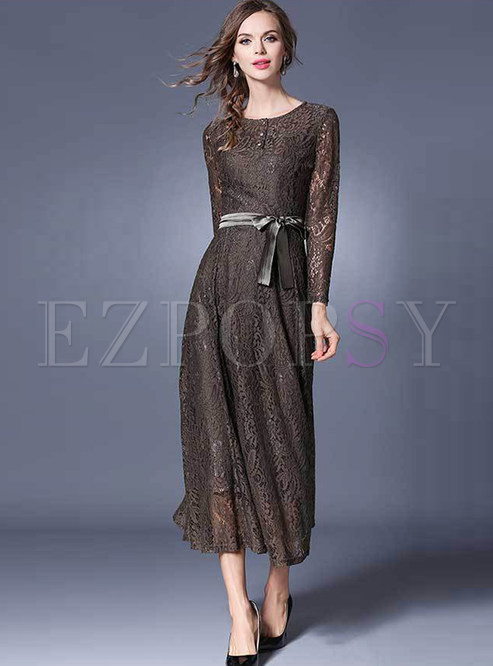 Vintage Oneck Lace High Waist Maxi Dress Ezpopsycom