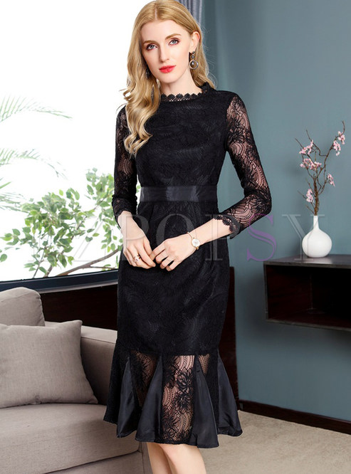 Dresses Bodycon Dresses Black Lace Gathered Waist