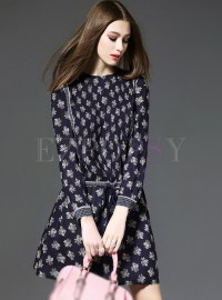 Silk Long Sleeve Print A-Line Dress   Ezpopsy.com