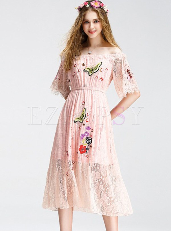 Dresses Skater Dresses Lace Embroidered Slash Neck