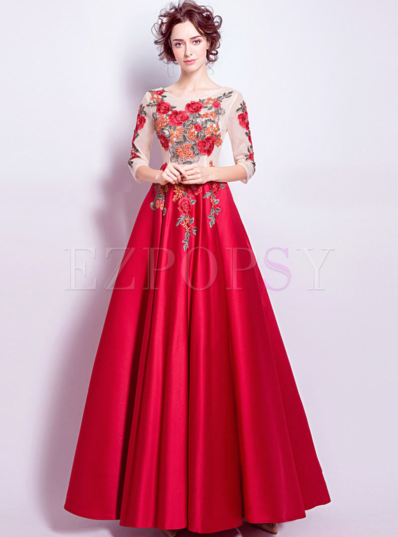 stylish splicing embroidered maxi