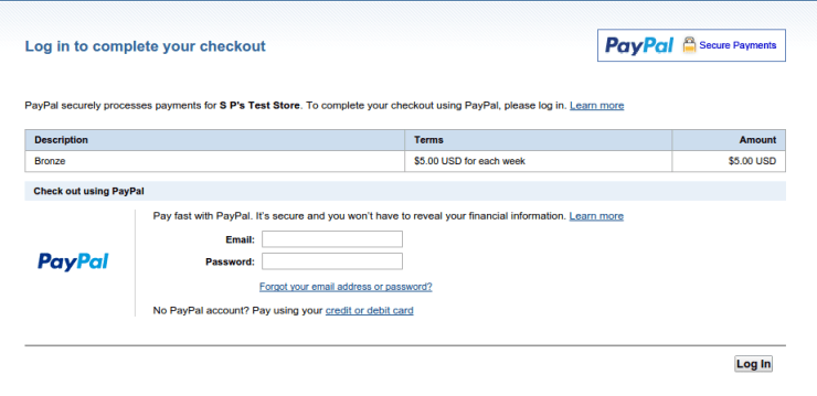 paypal login subscription
