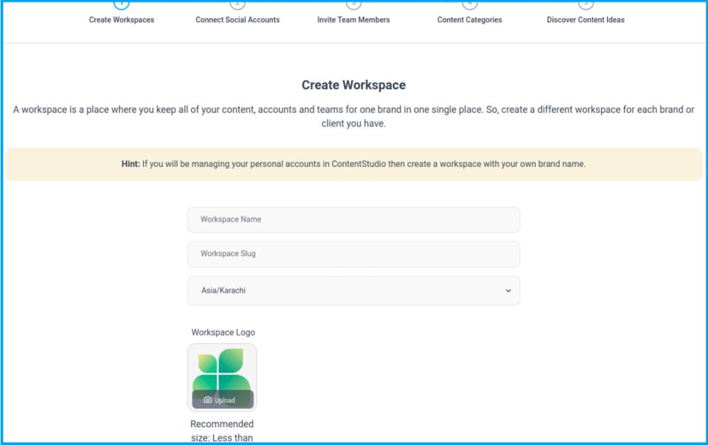 create workspace contentstudio