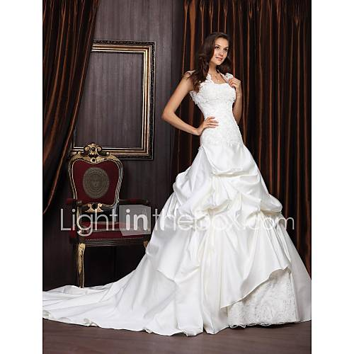 Satin Lace Plus Size  Wedding Dress