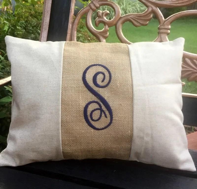 12x16 monogram lumbar pillow cover