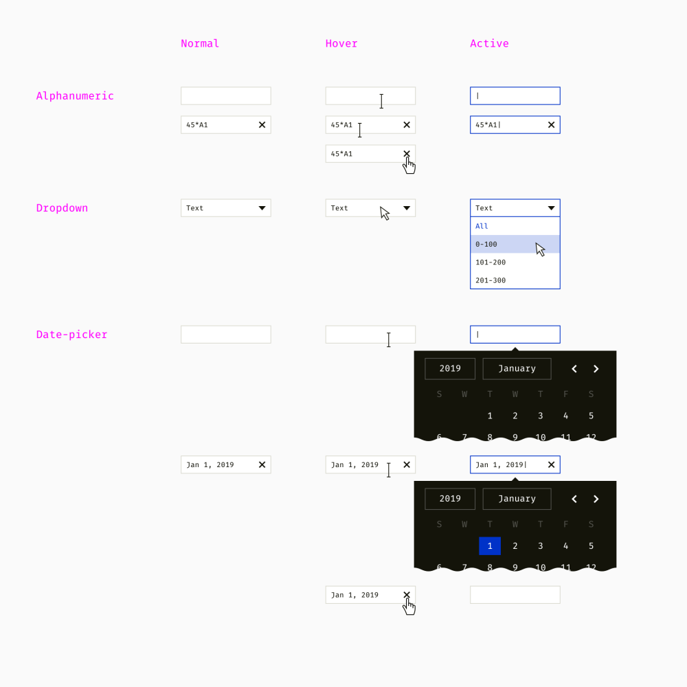 medium resolution of a sample set of three table filter types