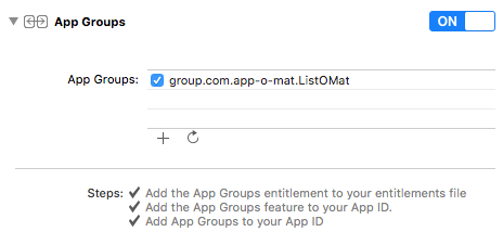 A screenshot of Xcode's entitlements screen showing the app group is enabled and configured