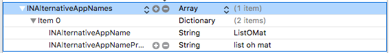 A screenshot from Xcode showing that the app plist can add alternate app names and pronunciations