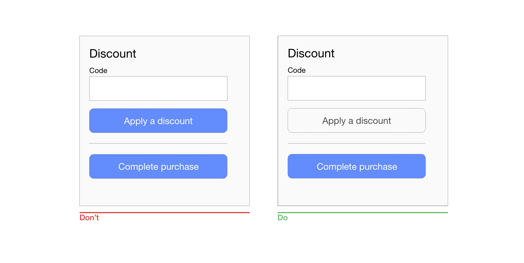 hight resolution of ensure a clear visual distinction between primary and secondary buttons
