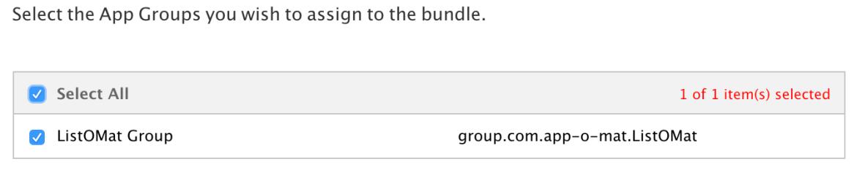 A screenshot of the Apple developer website dialog to set the app group name