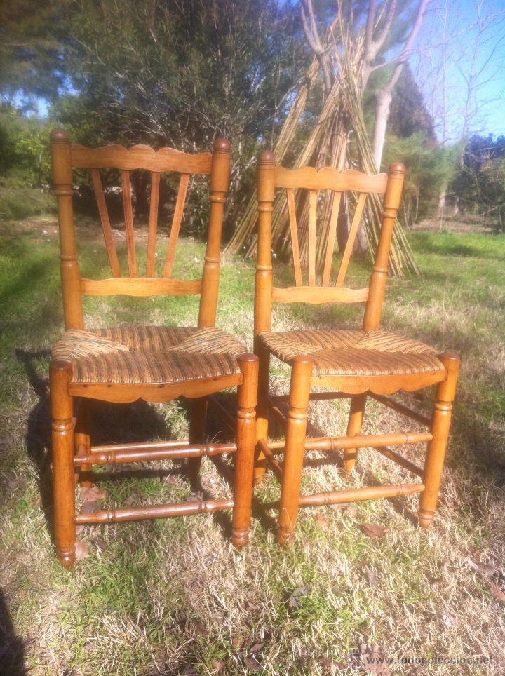 antigua pareja de sillas de enea valencianas   Comprar