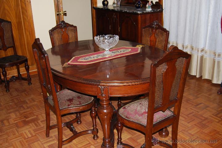 comedor antiguo de caoba compuesto de mesa 6 s  Comprar Mesas Antiguas en todocoleccion  47526705