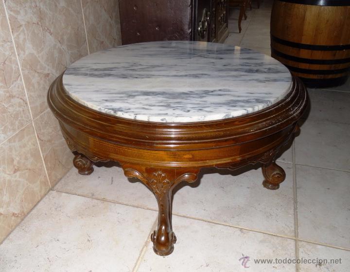 mesa centro de madera y mrmol como nueva  Comprar Mesas